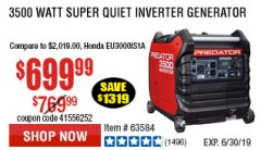 Harbor Freight Coupon PREDATOR 3500 WATT SUPER QUIET INVERTER GENERATOR Lot No. 56720/63584 Expired: 6/17/19 - $699.99