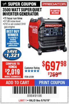 Harbor Freight Coupon PREDATOR 3500 WATT SUPER QUIET INVERTER GENERATOR Lot No. 56720/63584 Expired: 6/16/19 - $697.98