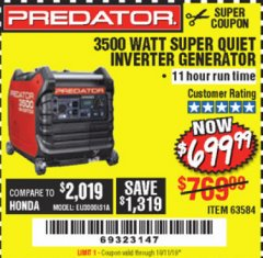 Harbor Freight Coupon PREDATOR 3500 WATT SUPER QUIET INVERTER GENERATOR Lot No. 56720/63584 Expired: 10/11/19 - $699.99
