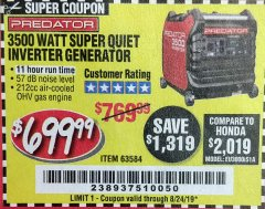 Harbor Freight Coupon PREDATOR 3500 WATT SUPER QUIET INVERTER GENERATOR Lot No. 56720/63584 Expired: 8/24/19 - $699.99