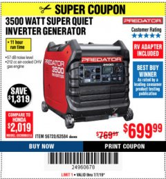 Harbor Freight Coupon PREDATOR 3500 WATT SUPER QUIET INVERTER GENERATOR Lot No. 56720/63584 Expired: 7/7/19 - $699.99