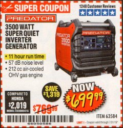 Harbor Freight Coupon PREDATOR 3500 WATT SUPER QUIET INVERTER GENERATOR Lot No. 56720/63584 Expired: 7/31/19 - $699.99
