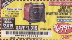 Harbor Freight Coupon PREDATOR 3500 WATT SUPER QUIET INVERTER GENERATOR Lot No. 56720/63584 Expired: 9/14/19 - $699.99