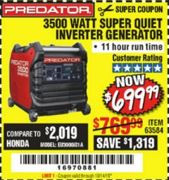 Harbor Freight Coupon PREDATOR 3500 WATT SUPER QUIET INVERTER GENERATOR Lot No. 56720/63584 Expired: 10/14/19 - $699.99