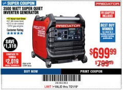 Harbor Freight Coupon PREDATOR 3500 WATT SUPER QUIET INVERTER GENERATOR Lot No. 56720/63584 Expired: 7/21/19 - $699.99