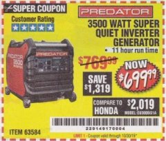 Harbor Freight Coupon PREDATOR 3500 WATT SUPER QUIET INVERTER GENERATOR Lot No. 56720/63584 Expired: 10/30/19 - $699.99