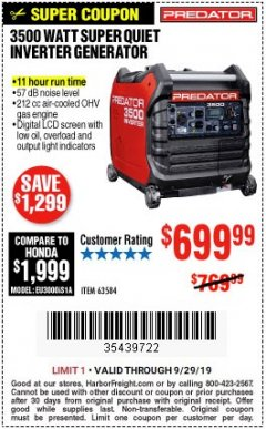 Harbor Freight Coupon PREDATOR 3500 WATT SUPER QUIET INVERTER GENERATOR Lot No. 56720/63584 Expired: 9/29/19 - $699.99