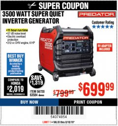 Harbor Freight Coupon PREDATOR 3500 WATT SUPER QUIET INVERTER GENERATOR Lot No. 56720/63584 Expired: 8/18/19 - $699.99