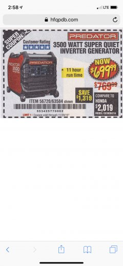 Harbor Freight Coupon PREDATOR 3500 WATT SUPER QUIET INVERTER GENERATOR Lot No. 56720/63584 Expired: 11/28/19 - $699.99