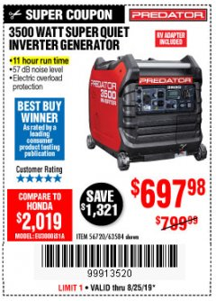 Harbor Freight Coupon PREDATOR 3500 WATT SUPER QUIET INVERTER GENERATOR Lot No. 56720/63584 Expired: 8/25/19 - $697.98