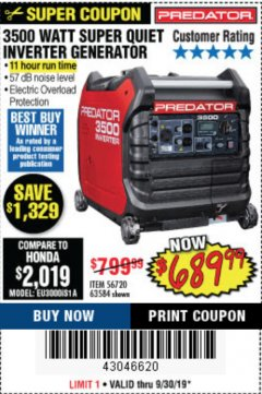 Harbor Freight Coupon PREDATOR 3500 WATT SUPER QUIET INVERTER GENERATOR Lot No. 56720/63584 Expired: 9/30/19 - $689.99
