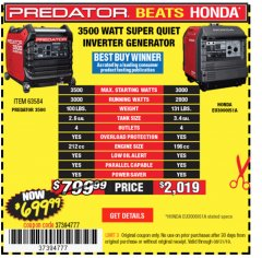 Harbor Freight Coupon PREDATOR 3500 WATT SUPER QUIET INVERTER GENERATOR Lot No. 56720/63584 Expired: 8/31/19 - $699.99