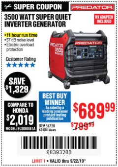 Harbor Freight Coupon PREDATOR 3500 WATT SUPER QUIET INVERTER GENERATOR Lot No. 56720/63584 Expired: 9/22/19 - $689.99