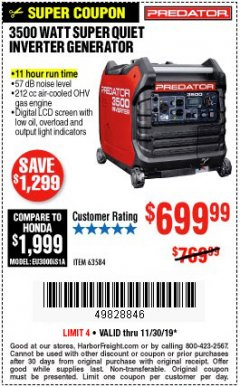 Harbor Freight Coupon PREDATOR 3500 WATT SUPER QUIET INVERTER GENERATOR Lot No. 56720/63584 Expired: 11/30/19 - $699.99