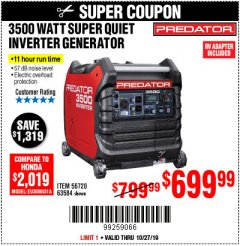 Harbor Freight Coupon PREDATOR 3500 WATT SUPER QUIET INVERTER GENERATOR Lot No. 56720/63584 Expired: 10/27/19 - $699.99