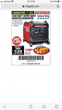 Harbor Freight Coupon PREDATOR 3500 WATT SUPER QUIET INVERTER GENERATOR Lot No. 56720/63584 Expired: 10/31/19 - $689.99