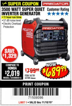 Harbor Freight Coupon PREDATOR 3500 WATT SUPER QUIET INVERTER GENERATOR Lot No. 56720/63584 Expired: 11/10/19 - $689.99