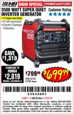 Harbor Freight Coupon PREDATOR 3500 WATT SUPER QUIET INVERTER GENERATOR Lot No. 56720/63584 Expired: 11/24/19 - $699.99