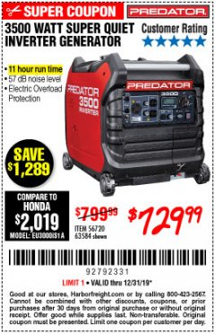 Harbor Freight Coupon PREDATOR 3500 WATT SUPER QUIET INVERTER GENERATOR Lot No. 56720/63584 Valid Thru: 12/31/19 - $729.99