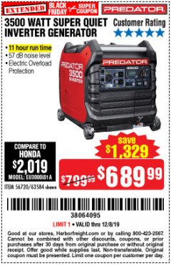 Harbor Freight Coupon PREDATOR 3500 WATT SUPER QUIET INVERTER GENERATOR Lot No. 56720/63584 Expired: 12/8/19 - $689.99