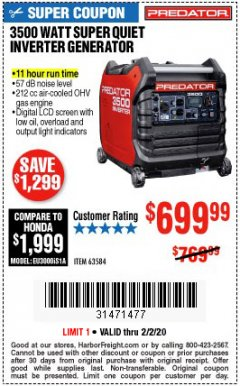 Harbor Freight Coupon PREDATOR 3500 WATT SUPER QUIET INVERTER GENERATOR Lot No. 56720/63584 Valid Thru: 2/2/20 - $699.99