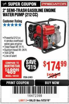 "Harbor Freight Coupon 2"" SEMI-TRASH GASOLINE ENGINE WATER PUMP Lot No. 63405 Expired: 9/23/18 - $174.99"