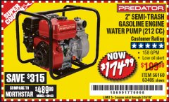 "Harbor Freight Coupon 2"" SEMI-TRASH GASOLINE ENGINE WATER PUMP Lot No. 63405 Expired: 2/16/19 - $174.99"