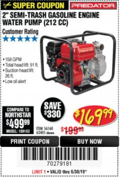 "Harbor Freight Coupon 2"" SEMI-TRASH GASOLINE ENGINE WATER PUMP Lot No. 63405 Expired: 6/30/19 - $169.99"