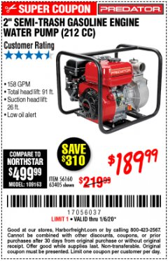 "Harbor Freight Coupon PREDATOR 2"" SEMI-TRASH GASOLINE ENGINE WATER PUMP Lot No. 63405 Expired: 1/6/20 - $189.99"