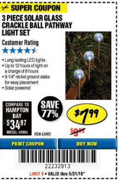 Harbor Freight Coupon 3 PIECE SOLAR PATHWAY LIGHT SET Lot No. 63482 Expired: 5/31/18 - $7.99