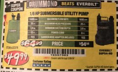Harbor Freight Coupon 1/6 HP SUBMERSIBLE UTILITY PUMP Lot No. 63319 EXPIRES: 2/28/19 - $49.99