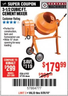 Harbor Freight Coupon 3-1/2 CUBIC FT. CEMENT MIXER Lot No. 67536/61932 Expired: 8/26/18 - $179.99