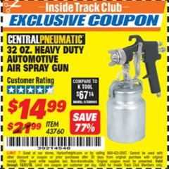 Harbor Freight ITC Coupon 32 OZ. HEAVY DUTY AUTOMATIC AIR SPRAY GUN Lot No. 43760 Expired: 10/31/18 - $14.99