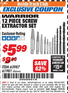 Harbor Freight ITC Coupon 12 PIECE SCREW EXTRACTOR SET Lot No. 61981 Dates Valid: 10/6/18 - 10/31/18 - $5.99