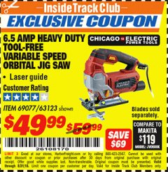 Harbor Freight ITC Coupon 6.5 AMP HEAVY DUTY VARIABLE SPEED ORBITAL JIG SAW WITH LASER Lot No. 69077/63123 Expired: 8/31/18 - $49.99