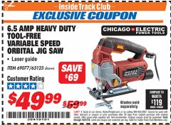 Harbor Freight ITC Coupon 6.5 AMP HEAVY DUTY VARIABLE SPEED ORBITAL JIG SAW WITH LASER Lot No. 69077/63123 Expired: 10/31/18 - $49.99