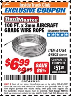 Harbor Freight ITC Coupon 3MM X 100FT AIRCRAFT GRADE WIRE ROPE Lot No. 61784/69803 Valid Thru: 12/31/18 - $6.99