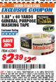 "Harbor Freight ITC Coupon 1.88"" X 60 YARD GENERAL PURPOSE MASKING TAPE Lot No. 63245 Expired: 3/31/18 - $2.39"