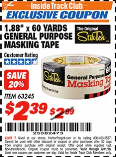 "Harbor Freight ITC Coupon 1.88"" X 60 YARD GENERAL PURPOSE MASKING TAPE Lot No. 63245 Expired: 8/31/18 - $2.39"