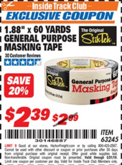 "Harbor Freight ITC Coupon 1.88"" X 60 YARD GENERAL PURPOSE MASKING TAPE Lot No. 63245 Expired: 3/31/19 - $2.39"