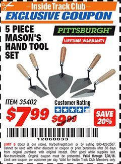 Harbor Freight ITC Coupon 5 PIECE MASON'S HAND TOOL SET Lot No. 35402 Expired: 7/31/18 - $7.99