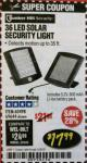 Harbor Freight Coupon 36 LED SOLAR SECURITY LIGHT Lot No. 69644/60498/69890 Expired: 2/28/18 - $17.99