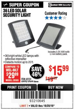 Harbor Freight Coupon 36 LED SOLAR SECURITY LIGHT Lot No. 69644/60498/69890 EXPIRES: 10/28/18 - $15.99