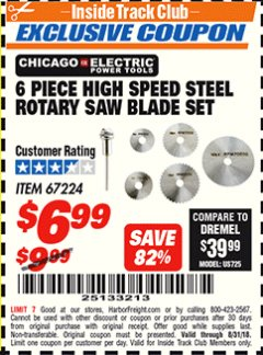 Harbor Freight ITC Coupon 6 PIECE HIGH SPEED ROTARY SAW BLADE SET Lot No. 67224 Expired: 8/31/18 - $6.99
