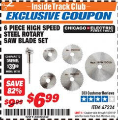 Harbor Freight ITC Coupon 6 PIECE HIGH SPEED ROTARY SAW BLADE SET Lot No. 67224 Valid Thru: 10/31/19 - $6.99