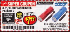 "Harbor Freight Coupon 2 PIECE 3-1/2"" 9 LED FLASHLIGHT Lot No. 62521/62566/69065/69112/97036 Expired: 8/31/19 - $1.99"