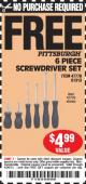 Harbor Freight FREE Coupon 6 PIECE SCREWDRIVER SET Lot No. 47770/61313/62570/62583/62728 Expired: 4/26/15 - NPR
