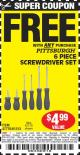 Harbor Freight FREE Coupon 6 PIECE SCREWDRIVER SET Lot No. 47770/61313/62570/62583/62728 Expired: 5/1/15 - FWP
