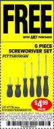Harbor Freight FREE Coupon 6 PIECE SCREWDRIVER SET Lot No. 47770/61313/62570/62583/62728 Expired: 10/28/15 - FWP