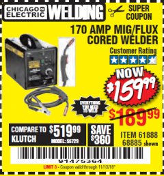 Harbor Freight Coupon 170 AMP MIG/FLUX WIRE FEED WELDER Lot No. 68885/61888 Expired: 11/13/18 - $159.99